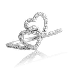Diamond Double Heart Promise Ring in Sterling Silver - Size 7 - View All Rings - Zales future-wedding-ideas Heart Promise Rings, Heart Ring, Diamond Heart, Silver Engagement Rings, Wedding Rings, Ring Engagement, Zales Jewelry, Wolf Jewelry, Diamond Stores
