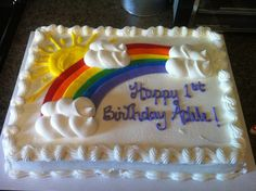 Cool Costco Cake Decorating Idea with Rainbow Sun and Cloud Decoration