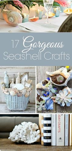 Seashell Decor: 17 Gorgeous Seashell Crafts - Lovely Etc. Easy and inexpensive DIY coastal decor! Shell crafts you are going to l - Seashell Art, Seashell Crafts, Beach Crafts, Seashell Display, Flower Crafts, Seashell Projects, Diy Projects, Coastal Decor, Diy Home Decor