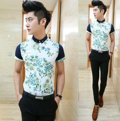 2014 Mens Slim Fit Contrast Collar Men Floral Shirts Short-sleeve Man Summer Clothes $22.88 Summer Outfits Men, Summer Clothes, Boy Fashion, Mens Fashion, Blue Flower Dress, Swag Boys, Contrast Collar, Slim Man, Wholesale Clothing