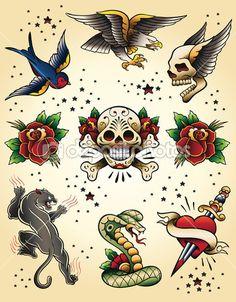 Tattoo flash vector-elementen instellen — Stockillustratie #28960311