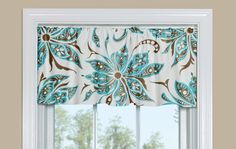 Contemporary Floral Kitchen Valance in Blue and Brown