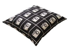 Echino Cameras Black Designer Throw Pillow Cover $24.95