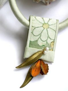Green Flower Obi with Vintage Brass by gretchenschields on Etsy, $235.00