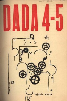 """Dada Zurich, n°4-5, 1919 cover, Francis Picabia, """"Réveil Matin""""."""