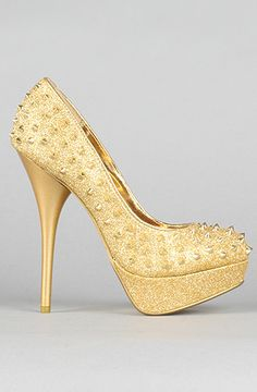 *Sole Boutique  The Iron Maiden Pump in Gold... yep, they are spiked. Self defense ;)