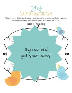 Get you own free copy of the Joy monthly Bible Reading Plan. Cute printable to hang up and keep you track.