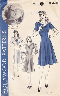 Hollywood 594 1940s Dress Pattern WWII Swing by FloradoraPresents
