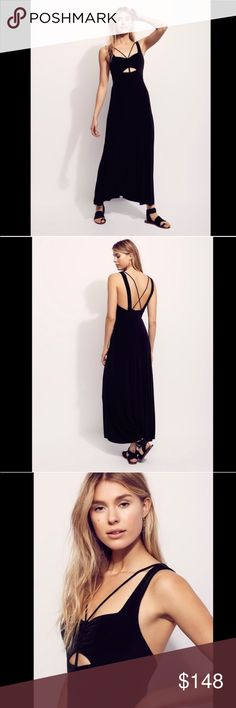 FREE PEOPLE maxi strappy dress black In a slinky ribbed fabric and retro-inspired silhouette, this knit dress features a cutout at the bust with an adjustable smocked tie. Raw hem detailing. 282176    Retail: $148 Sizes: L (I also have this listed in xs)   ❤I have over 300 new with tag Free People items for sale! I love to offer bundle discounts! ❤No trades. love the item but not the price? Submit an offer! Free People Dresses Maxi