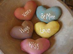 Primitive Valentines Conversation Hearts