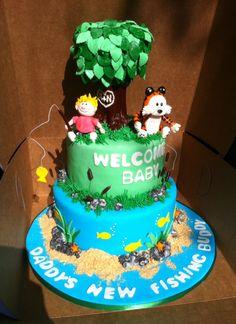 Calvin and Hobbs baby shower cake