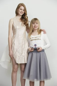 Brother Design Stars Fashion years 7-9 and Supreme Winner Ellie Goldfinch (R) with her model (L)