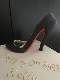 Louboutin shoe cake for a Happy birthday Kelly! Louboutin Shoes, Christian Louboutin, Hoe Cakes, Birthday Parties, Happy Birthday, Novelty Cakes, 40 Years Old, Pumps, Heels