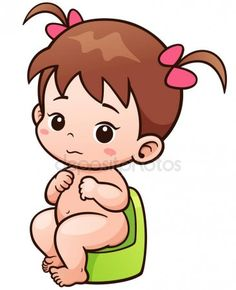 Vector Illustration of Cartoon Cute Baby sitting on potty