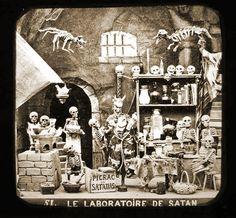 """""""Le Laboratoire de Satan,"""" from Les Diableries, c. 1861, stereocard"""