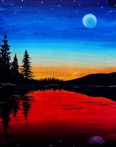 Join us for a Paint Nite event Mon Jul 2018 at 14 Mercer Street Seattle, WA. Purchase your tickets online to reserve a fun night out! Scenery Paintings, Easy Paintings, Simple Nature Drawing, Night Sky Painting, Full Hand Mehndi Designs, Night Scenery, Dark Art Drawings, Simple Pictures, Moon Rise