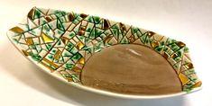 Vintage Retro Mid Century Modern Ceramic Green Gold Tan Mosaic Modernist Dish Platter Tray by YatsDomino on Etsy
