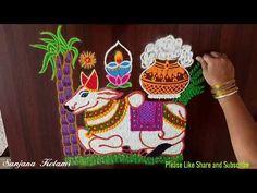 Rangoli Designs Latest, Simple Rangoli Designs Images, Colorful Rangoli Designs, Mattu Pongal, Sankranthi Muggulu, Special Rangoli, Free Hand Rangoli Design, Indian Rangoli, Festivals