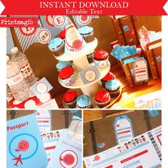 Around the World Travel Birthday Printable Party Kit editable text - Instant Download by printmagic on Etsy https://www.etsy.com/listing/100483414/around-the-world-travel-birthday