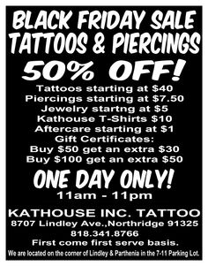 Events promotions on pinterest friday the 13th for Black friday tattoo deals