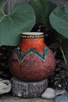 Small thin bottle gourd maybe 3 and a hlf by 3 and a half. wood stain and leather dyes with acrylics