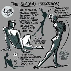 "Tuesday Tips (New, 2016) - The Shadow Connection When putting down areas of shadow on a figure, try to keep the shadow area ""connected"" as much as possible. I say mostly connected because there will be unconnected areas, but overall, a connected shadow area will help unify the whole figure into a simpler statement. It can help solidify a loose gesture into a more believable pose or it can also be the foundation of a more intricate representation of light an shadow in a longer pose (5 min…"