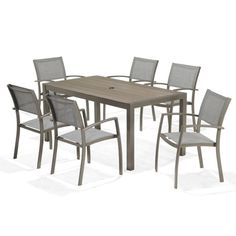 <p> This stylish outdoor furniture set seats six people, enough room for a…