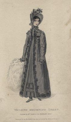 December walking mourning dress, 1818 England, British Lady's Magazine
