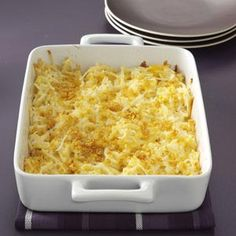 Makeover Hash Brown Casserole Recipe. Still full of great flavor, this recipe is a much lighter, healthier, and Diabetic version of the original. One and a quarter cups equals 203 calories and 9 grams of protein with only 7 grams of fat. Love it!
