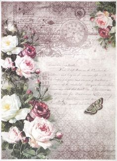 Details about Rice Paper for Decoupage Decopatch Scrapbook Craft Sheet Vintage Roses Stamp - Prints -