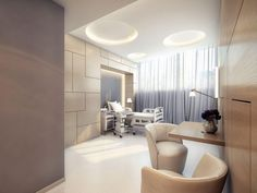 Office & Workspace, Extra Modern White Surgery Clinic Interior Design: Contemporary White Bed With Modern Clinic Stuff - Tetris wall! Clinic Interior Design, Clinic Design, Medical Design, Healthcare Design, Healthcare Architecture, Modern Hospital, Cabinet Medical, Room Furniture Design, Office Furniture