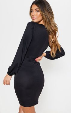 99065bbd2c420 Black Balloon Sleeve Bodycon Dress
