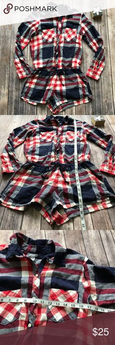 Aerie Flannel Plaid Romper Size Medium Like new soft and cozy flannel romper from Aerie. Perfect for lounging and casual wear! 💠From a clean and smoke free home!💠 Add to a bundle to get a private discount💠Free Gift with $25+ Purchase 💠 Discount ALWAYS Available on 2+ items💠 No trades, holds, modeling or transactions off of Poshmark.💠 aerie Pants Jumpsuits & Rompers