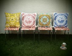 Pillows inspired by old tea cups. LOVE!