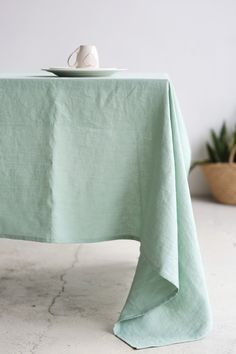 Tabletop Scandinavian linen fabric Mint green Red Linen Table runner or Tablecloth Rectangle Square