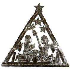 Triangle Nativity Wall Art - Croix des Bouquets (H) Hand-cut and embossed from steel drums by Haitian artisans, this nativity features a triangle design. It measures 8 inches tall by 7 inches wide. Christmas Crafts For Kids, Handmade Christmas, Holiday Crafts, Christmas Holidays, Christmas Decorations, Christmas Ornaments, Holiday Decor, Outdoor Metal Wall Art, Nativity Crafts