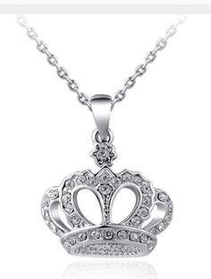 Princess Crown Rhinestone Necklace