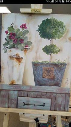 Primitive Painting, Tole Painting, Topiary, Vintage Wood, Chalk Paint, Flower Art, Painted Furniture, Watercolor Art, Farmhouse Decor