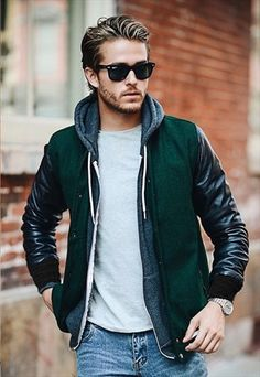 LEATHER ARM SLEEVES AND GREEN WOOL VARSITY JACKET - ARCHIE