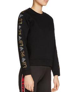 Maje Topaz Love Sequin-sleeve Sweatshirt In Black Sweatshirts Online, Hoodies, Maje, Cropped Pants, Mini Skirts, Sequins, Topaz, Sleeves, How To Wear
