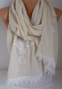 Ivory Floral Knitted ScarfWedding Shawl Winter