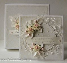 Dorota_mk: Komunijnie and wedding . a time :) Wedding Cards Handmade, Greeting Cards Handmade, Shabby Chic Cards, Wedding Anniversary Cards, Marianne Design, Heartfelt Creations, Mothers Day Cards, Pretty Cards, Flower Cards