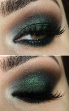 Dark green and black eye makeup w/ a bit of sparklies.