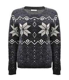 ZLYC Women Winter Soft Snowflake Print Casual Pullover Jumper Christmas Sweater Gray >>> Visit the image link more details.