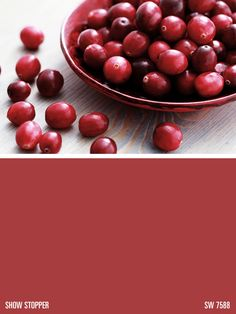 A delicious version of cranberry red color inspiration Sherwin-Williams red paint color – Show Stopper (SW Paint For Kitchen Walls, Kitchen Paint Colors, Red Paint Colors, Red Color, Printable Christmas Coloring Pages, Christmas Placemats, Cranberry Color, Sherwin William Paint, Bedroom Red