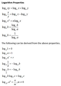 How to proof the properties of logarithms: product rule, quotient rule, power rule, change of base rule with examples and step by step solutions Algebra Formulas, Physics Formulas, Physics And Mathematics, Math Formula Chart, Maths Solutions, Math Notes, Precalculus, School Study Tips, Maths Algebra