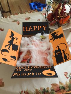 Care Package Flaps Halloween by DesignsbyHews on Etsy Diy Halloween Gifts, Halloween Gift Baskets, Halloween Cards, Fall Halloween, Halloween Decorations, Halloween Ideas, Halloween Halloween, Missionary Packages, Deployment Care Packages