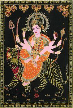 Mata Vaishno Devi - (Silver and Golden Glitter Painting) (Painting on Velvet Cloth - Unframed) Mata Vaishno Devi, Mata Rani, Golden Glitter, Mother Goddess, Durga Maa, Hindus, Lord, Velvet, Hand Painted