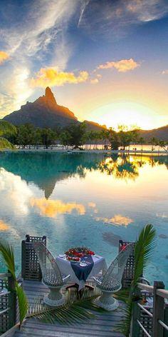 Bora Bora - The Romantic Island: More Honeymoon - Honeymoon destinations - Honeymoon ideas - Honeymo Romantic Destinations, Romantic Places, Romantic Vacations, Romantic Getaways, Honeymoon Destinations, Romantic Travel, Dream Vacations, Vacation Spots, Beautiful Places