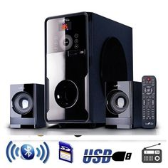 """Enjoy the ultimate home theater experience with with beFree Sound's 2.1 Channel Surround Sound Bluetooth Speaker System. This speaker system is sophistically designed, featuring a sleek look and smooth sound. With Bluetooth, USB, SD and FM radio capability, the system offers the best possible listening options for your enjoyment.  * 6.5"""" Amplifier + 3"""" Speakers x2 * Output power:40W+10W*2 * Frequency response:40Hz-20KHz; * Separation:≧50dB; * S/N Ration:≧75dB…"""